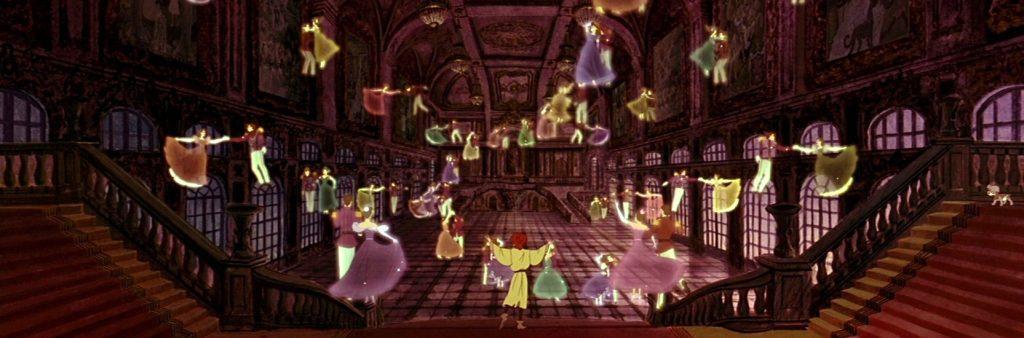 Anastasia découvre le palais de Saint Petersbourg dans le film éponyme