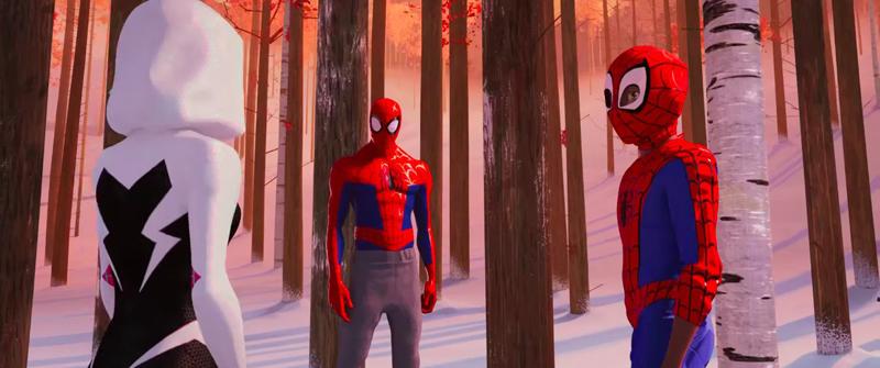 Gwen Stacy, Peter Parker et Miles Morales dans les bois